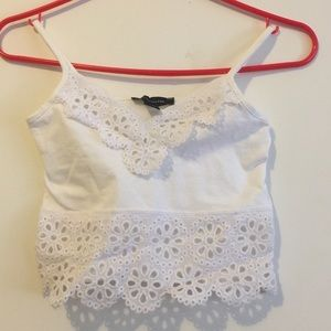 White crop top with lace detailing